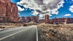 Scenic view of Arches National Park from the scenic byway in Moab, Utah, USA.