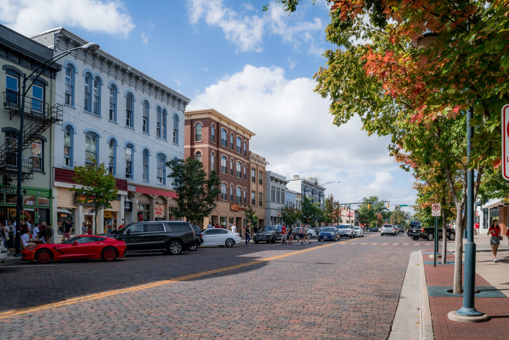 placemaking spotlight Oxford Ohio.  I mage shows street lined with buildings.